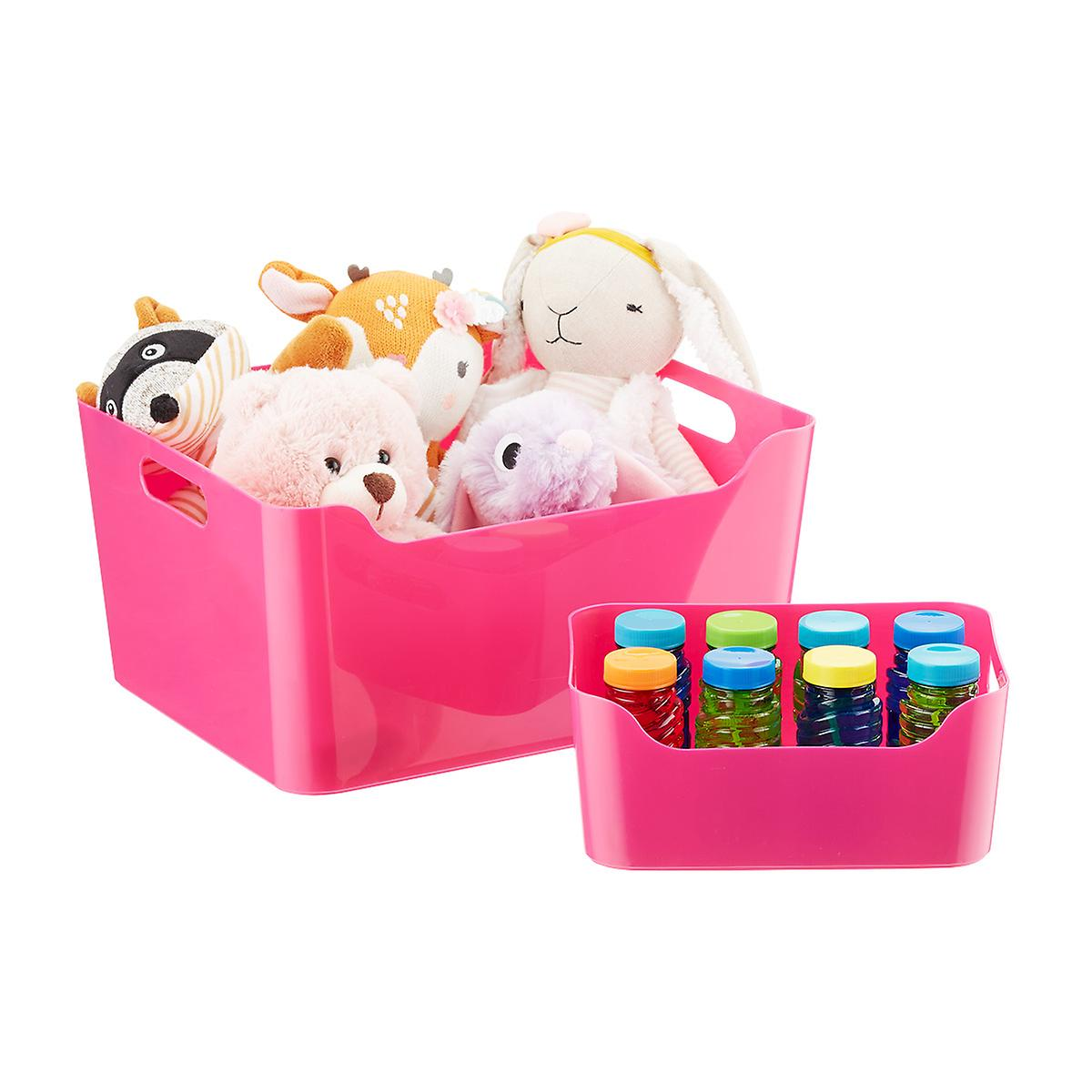 Fuchsia Plastic Storage Bins with Handles
