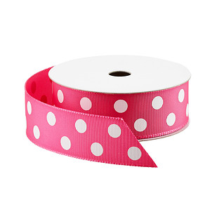 Fuchsia & White Polka Dot Grosgrain Ribbon