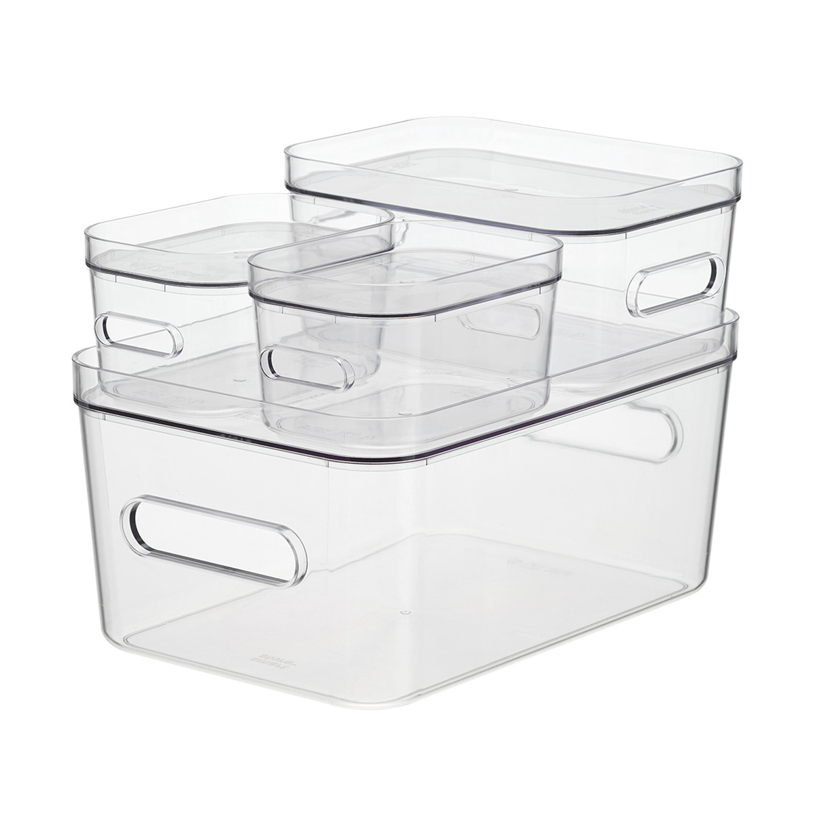 Smart Store Clear Compact Plastic Bins 4-Pack with Clear Lids