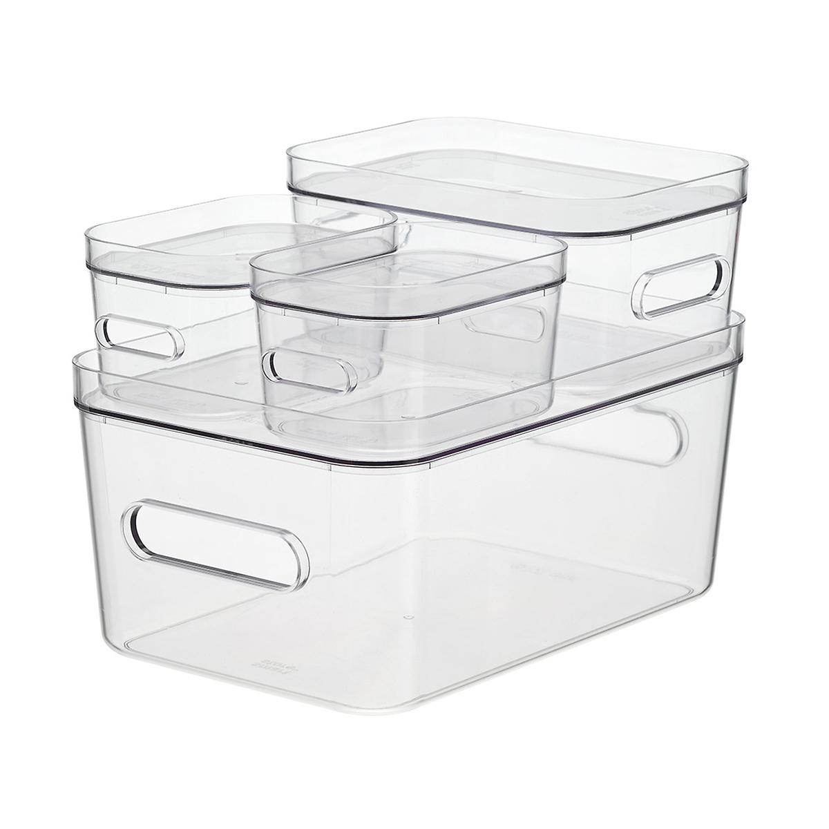 Clear Compact Plastic Bins 4-Pack with Clear Lids