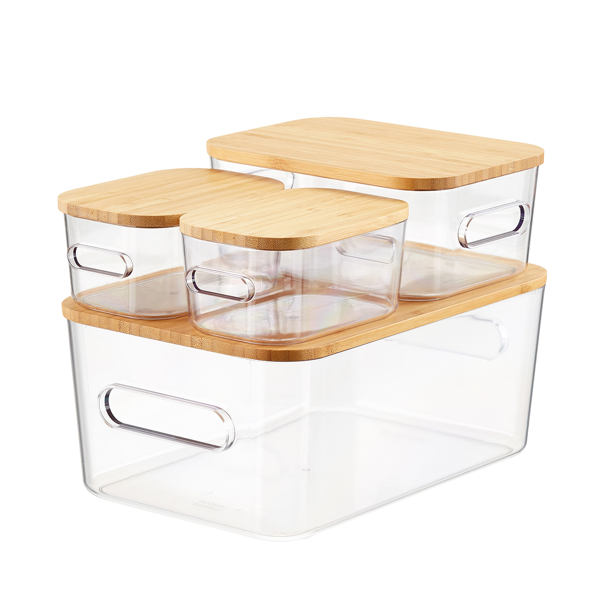 Smart Store Clear Compact Plastic Bins 4-Pack with Bamboo Lids