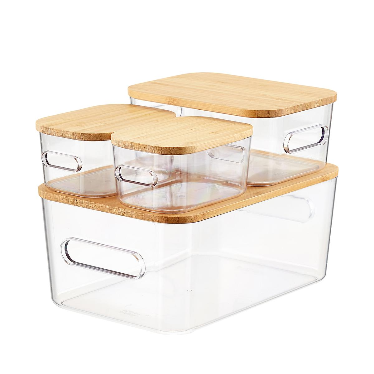 Clear Compact Plastic Bins 4-Pack with Bamboo Lids