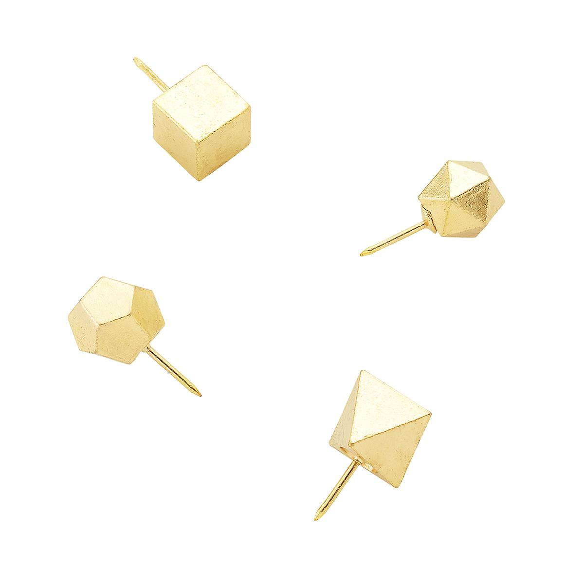 Three by Three Polyhedra Shape Gold Push Pins