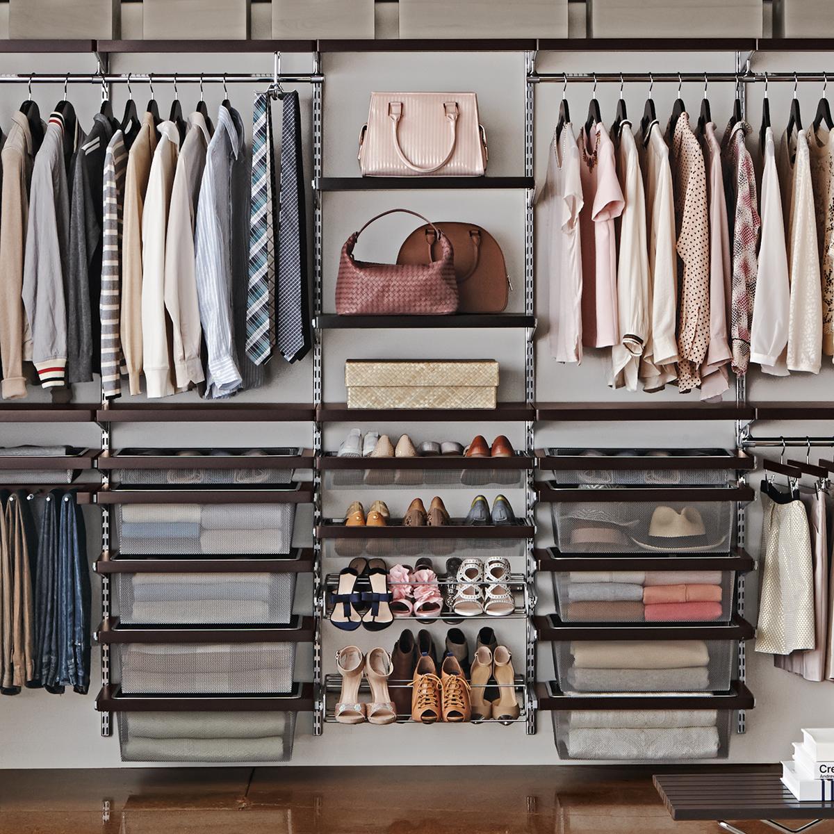 Elfa Décor 10' Walnut & Platinum His & Hers Closet Wall