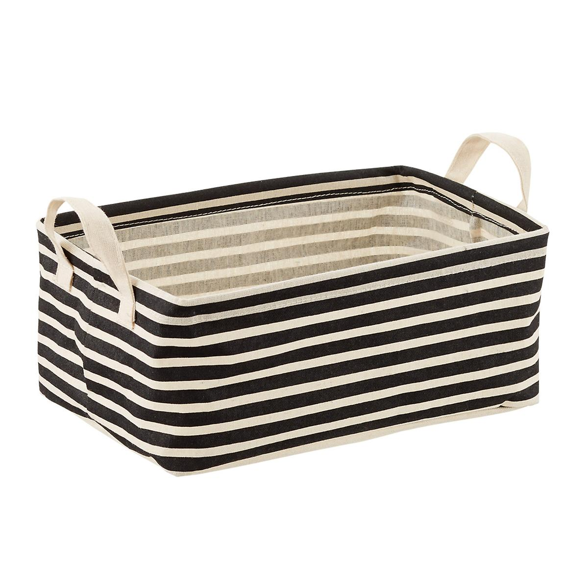 Black Stripe Fabric Storage Bins with Handles