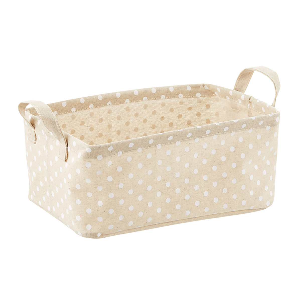 White Dots Fabric Storage Bins with Handles