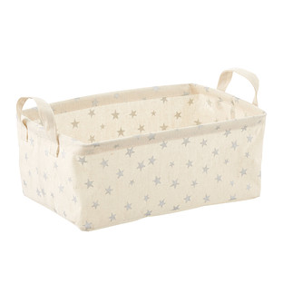Silver Stars Fabric Storage Bins with Handles