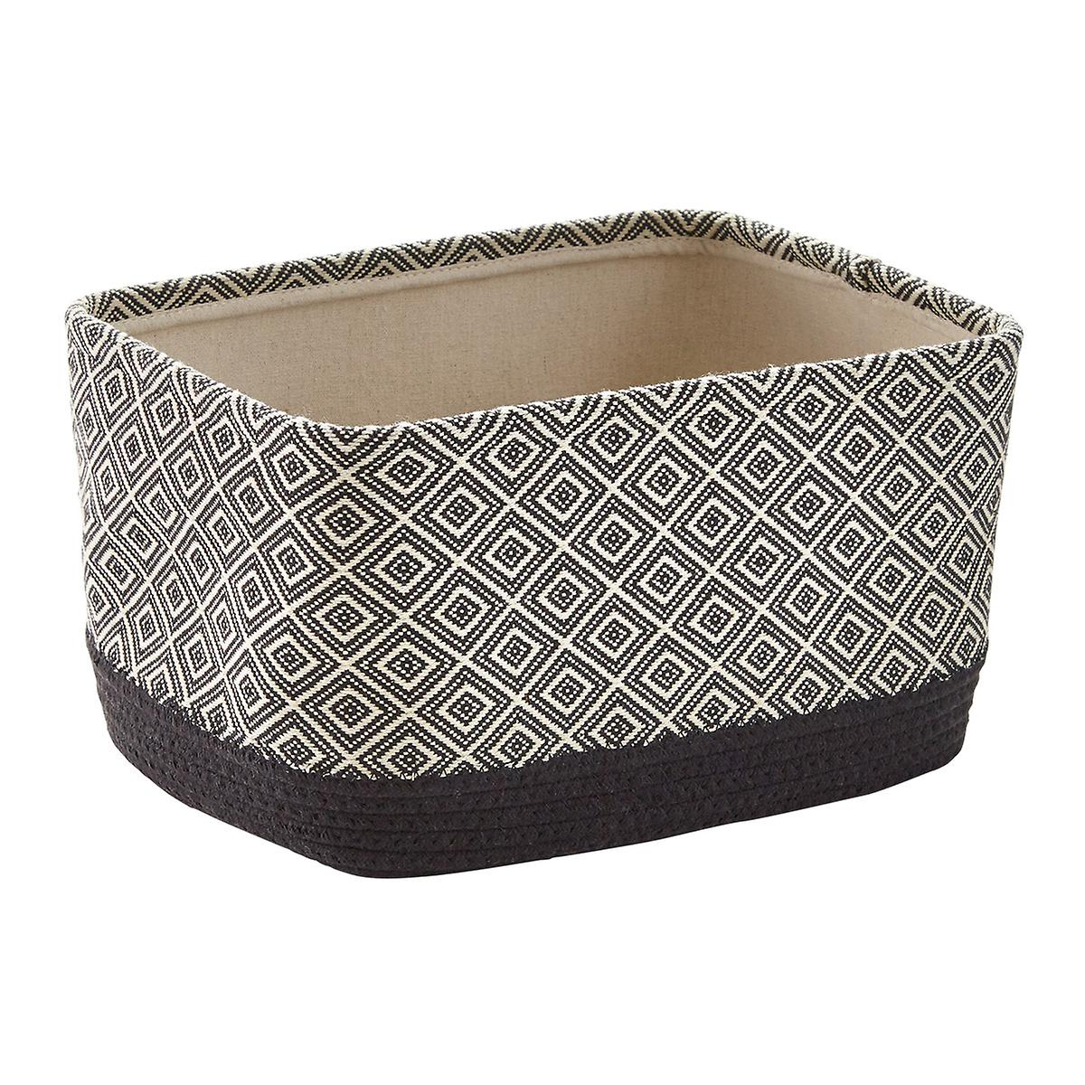 Diamond Fabric Cotton Rope Bin