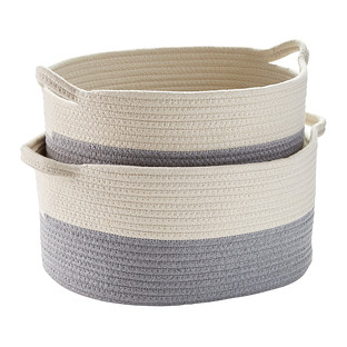 Grey Cotton Rope Oval Bins with Handles