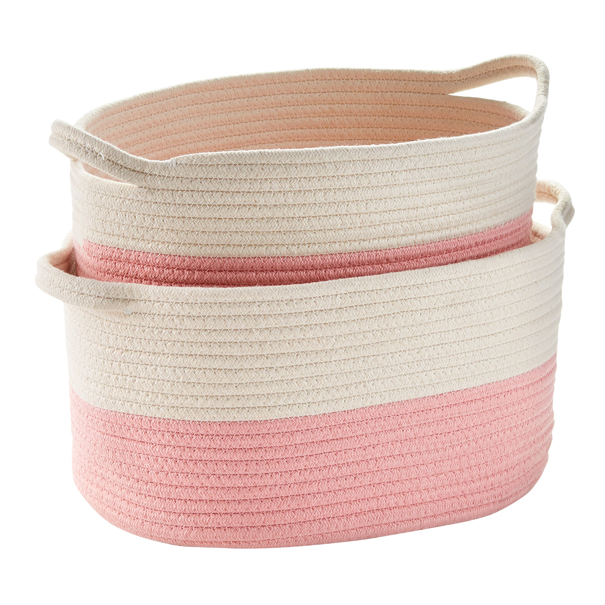 Pink Cotton Rope Oval Bins with Handles