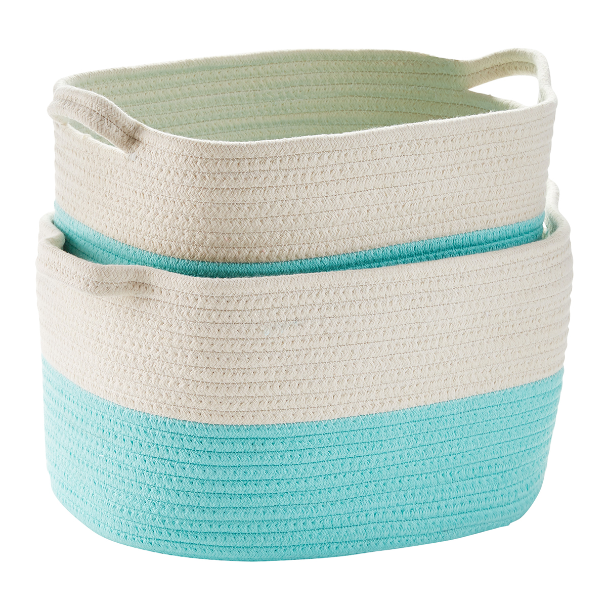 Aqua Cotton Rope Oval Bins with Handles