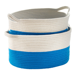 Blue Cotton Rope Oval Bins with Handles