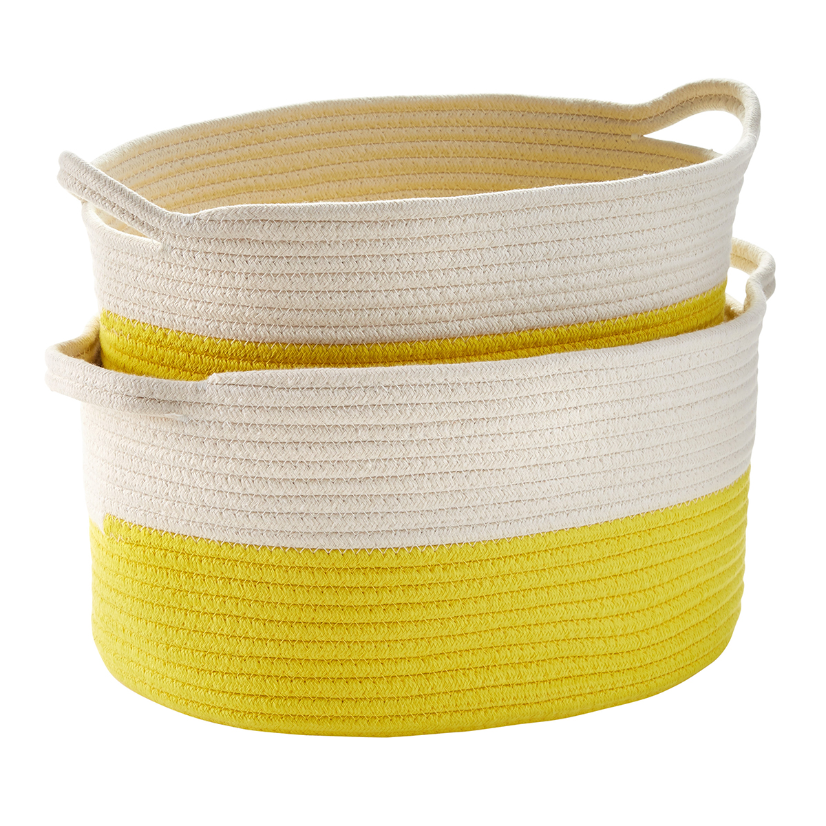 Yellow Cotton Rope Oval Bins with Handles