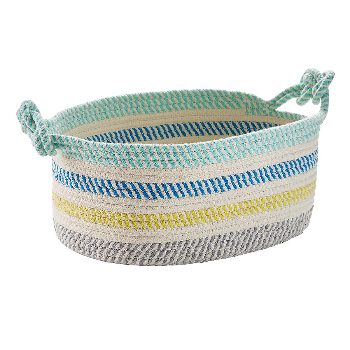 Multicolor Cotton Rope Oval Bin with Handles