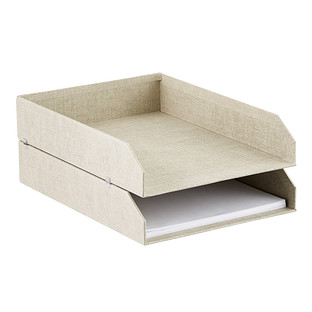 Bigso Linen Marten Set of 2 Stackable Letter Trays