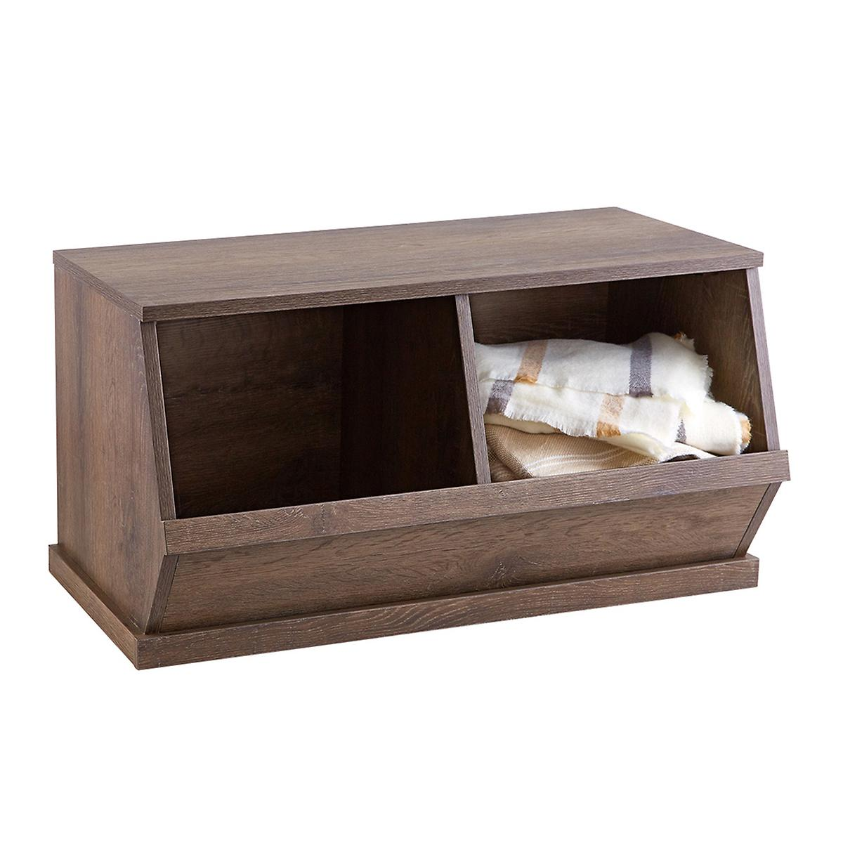 Rustic Driftwood Nantucket Stackable Storage Bin