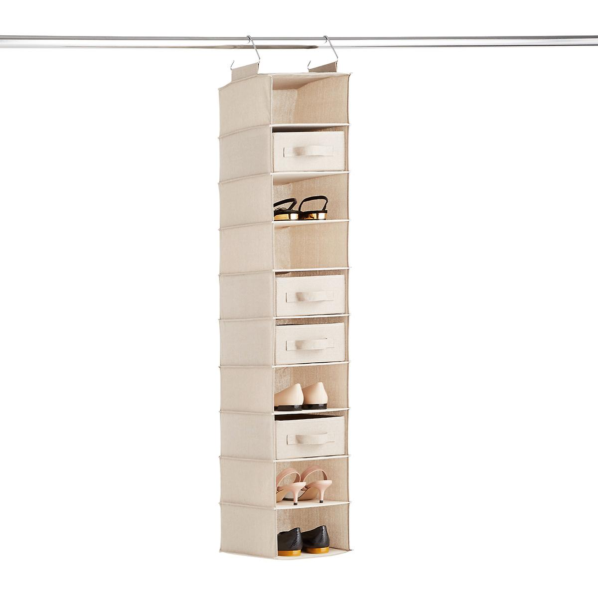 Taupe 10-Compartment Hanging Shoe Organizer