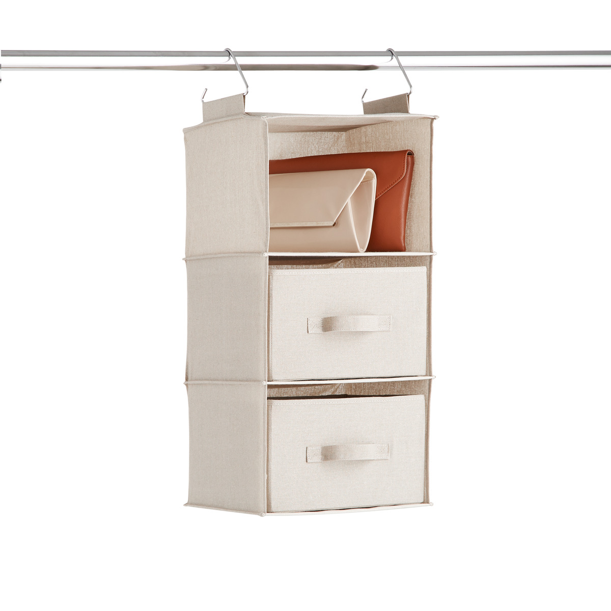 Taupe 3-Compartment Hanging Sweater Organizer