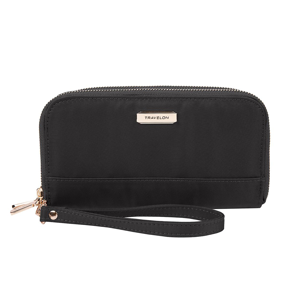 Travelon RFID-Blocking Black Double Zip Wallet