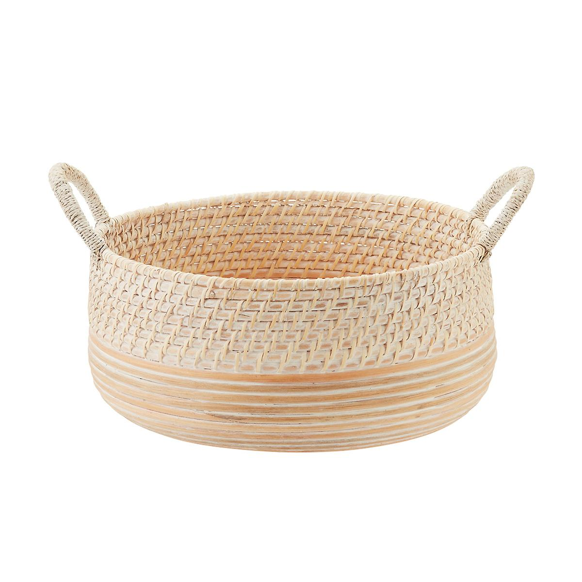 Whitewashed Round Rattan Basket with Handles