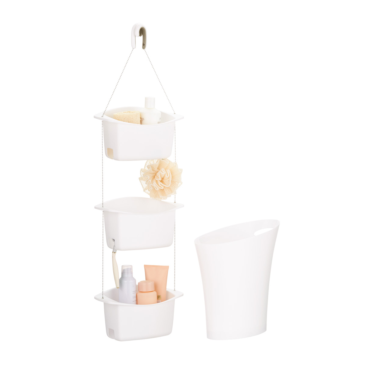 Umbra Oasis Shower Caddy and Skinny Trash Can