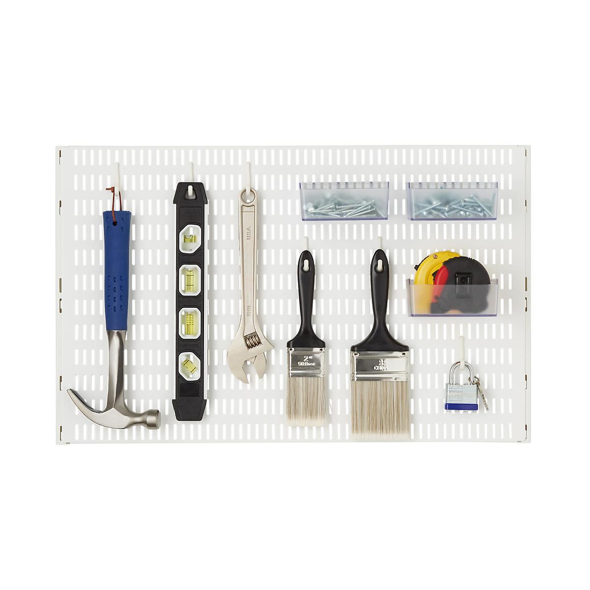 White Elfa Utility Pegboard Starter Kit