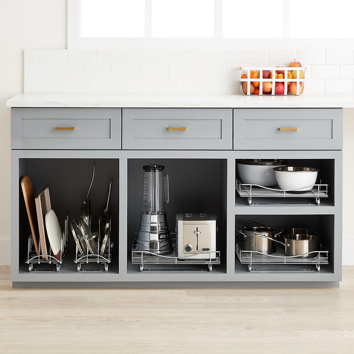 Pull Out Kitchen Cabinet Organizers: Lynk Chrome Pull-Out Cabinet Drawers