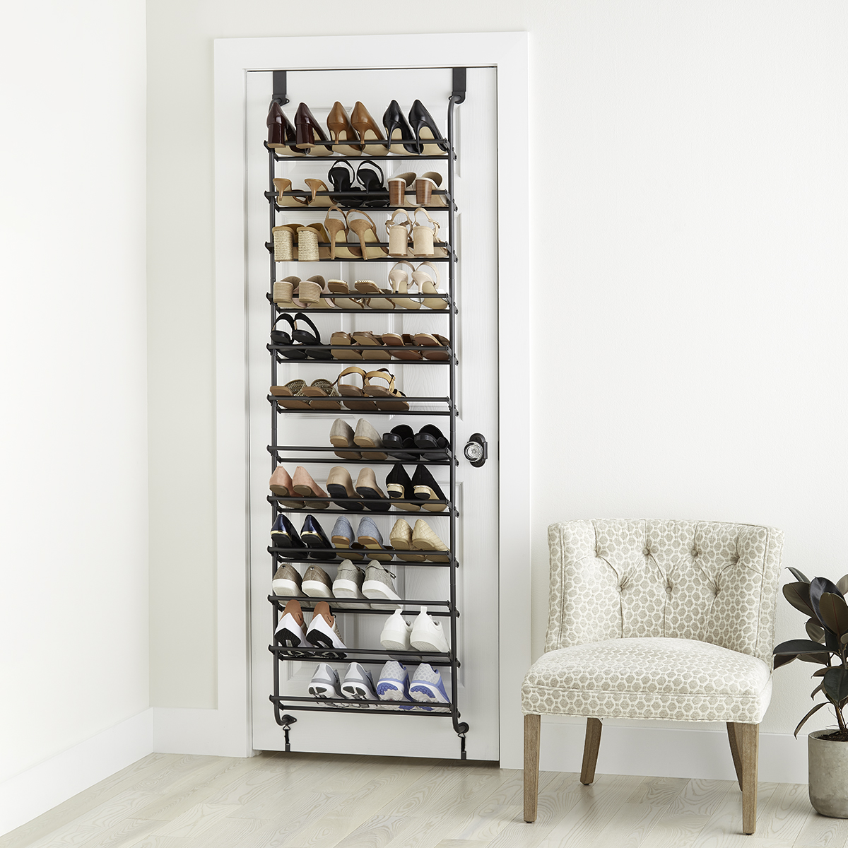 Graphite 12-Tier Over the Door Shoe Rack