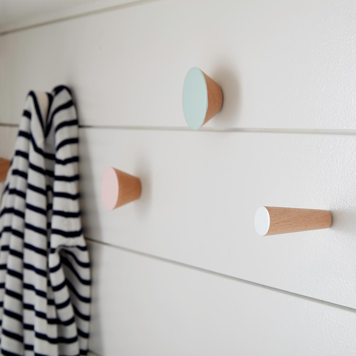 Three by Three Pastel Hob Knob Solid Wood Wall Pegs