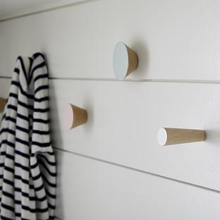 Three by Three Pastel Hob Knob Solid Wood Wall Pegs