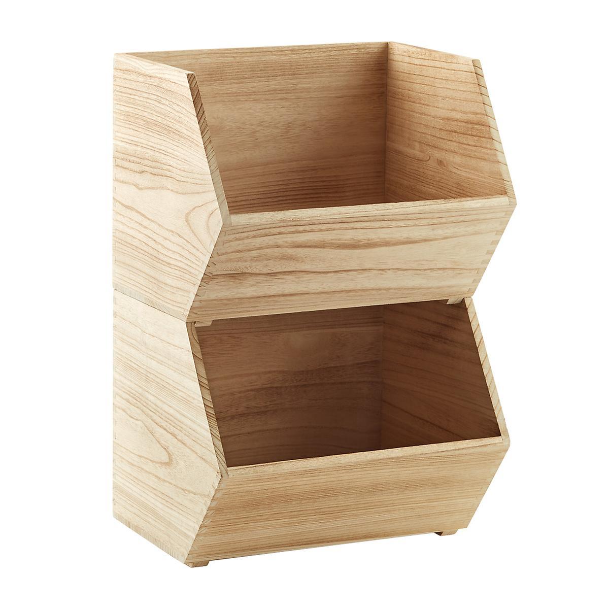 Large Wooden Stacking Bin
