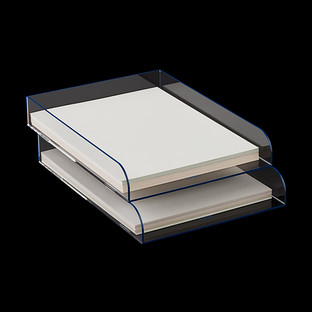 Navy Trim Mod Acrylic Stacking Letter Tray