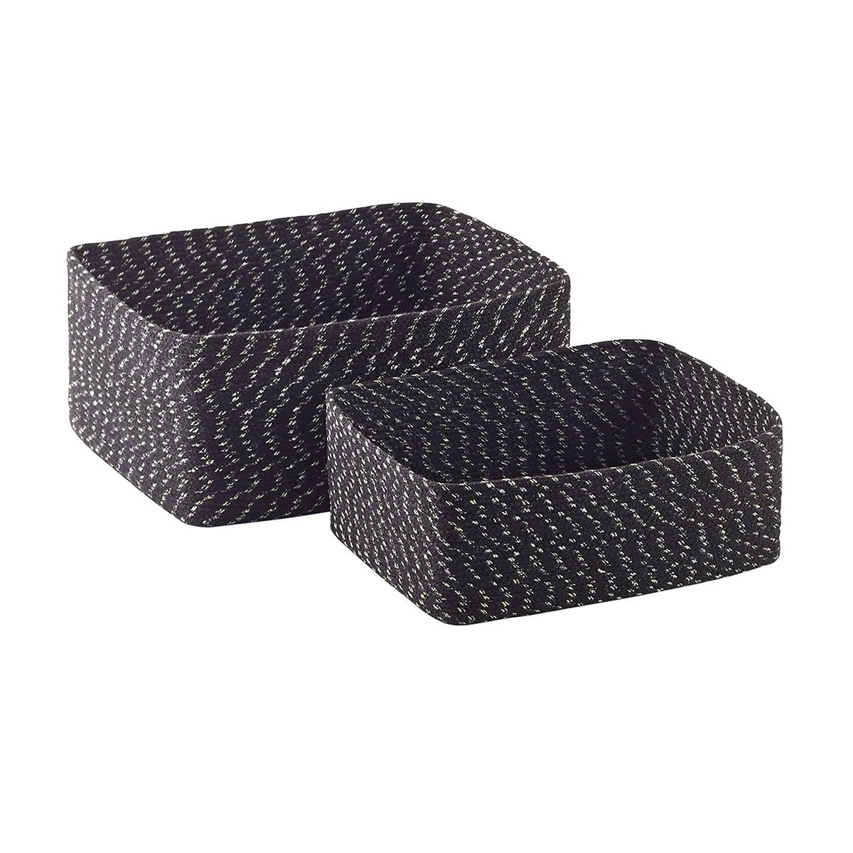 Black & Natural Seine Woven Storage Bins