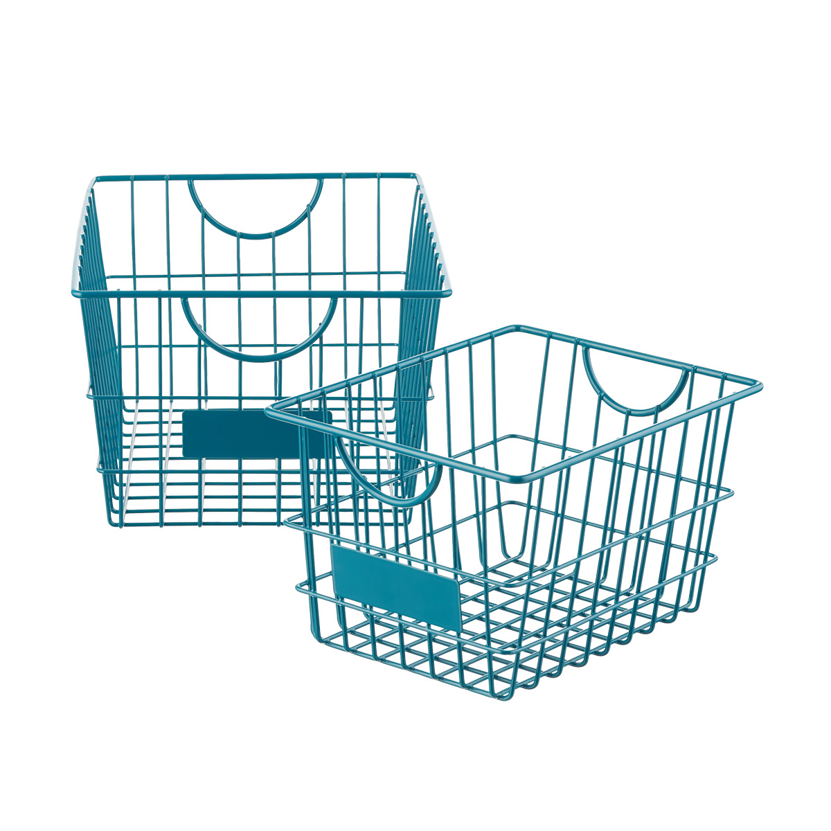 Peacock Wire Storage Baskets with Handles