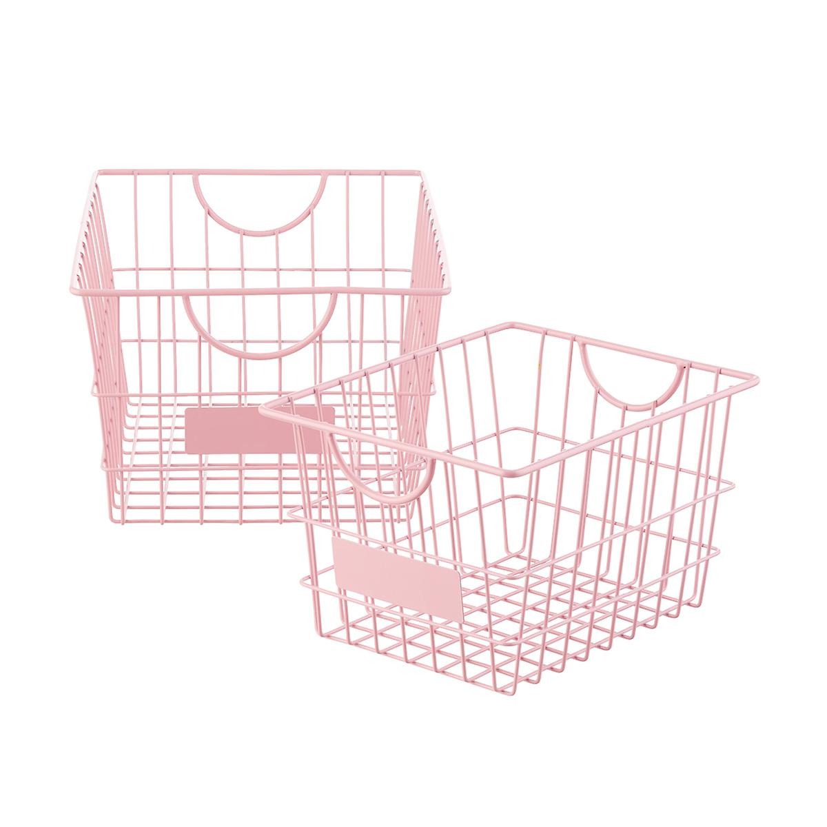 Blush Wire Storage Baskets with Handles