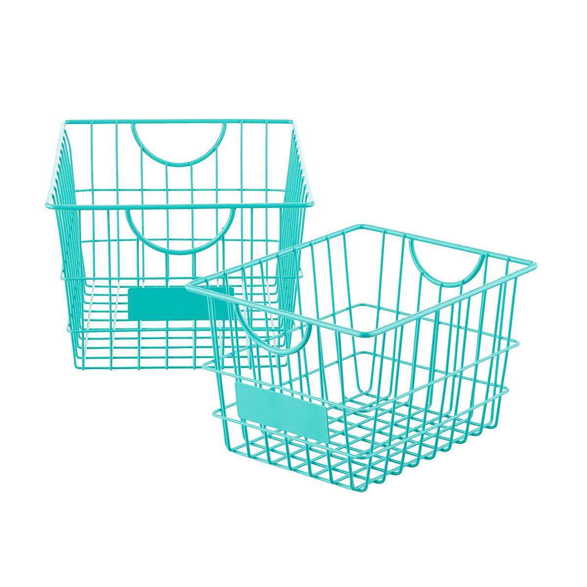 Aqua Wire Storage Baskets with Handles