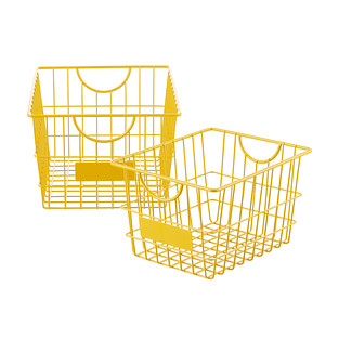 Gold Wire Storage Baskets with Handles