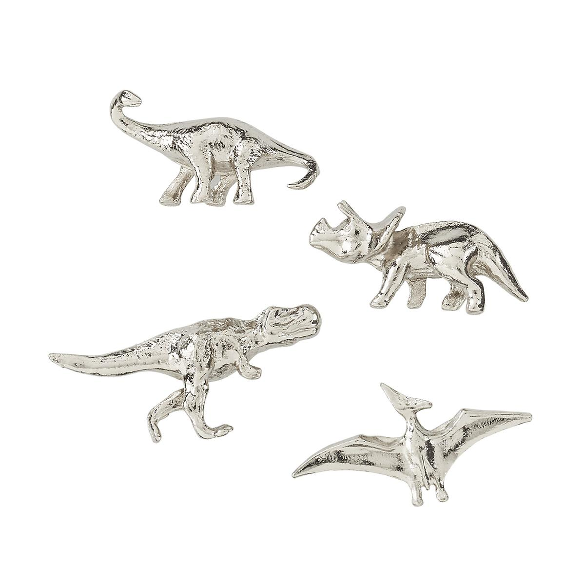 Three by Three Silver Dinosaur Cast Iron Magnets