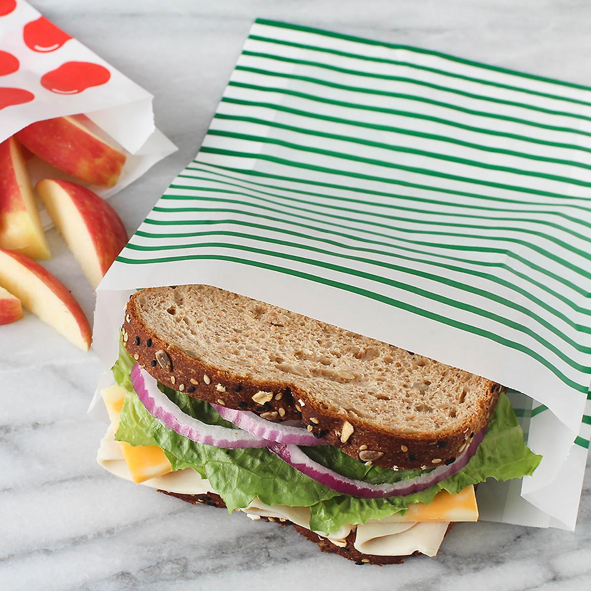 Lunchskins Green Striped Quart Paper Bags