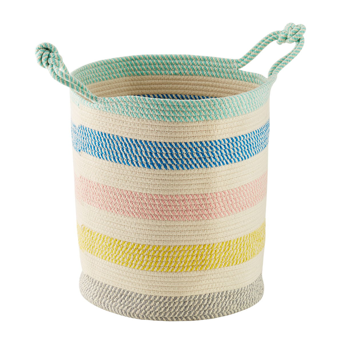 Tall Multicolor Cotton Rope Oval Bin with Handles