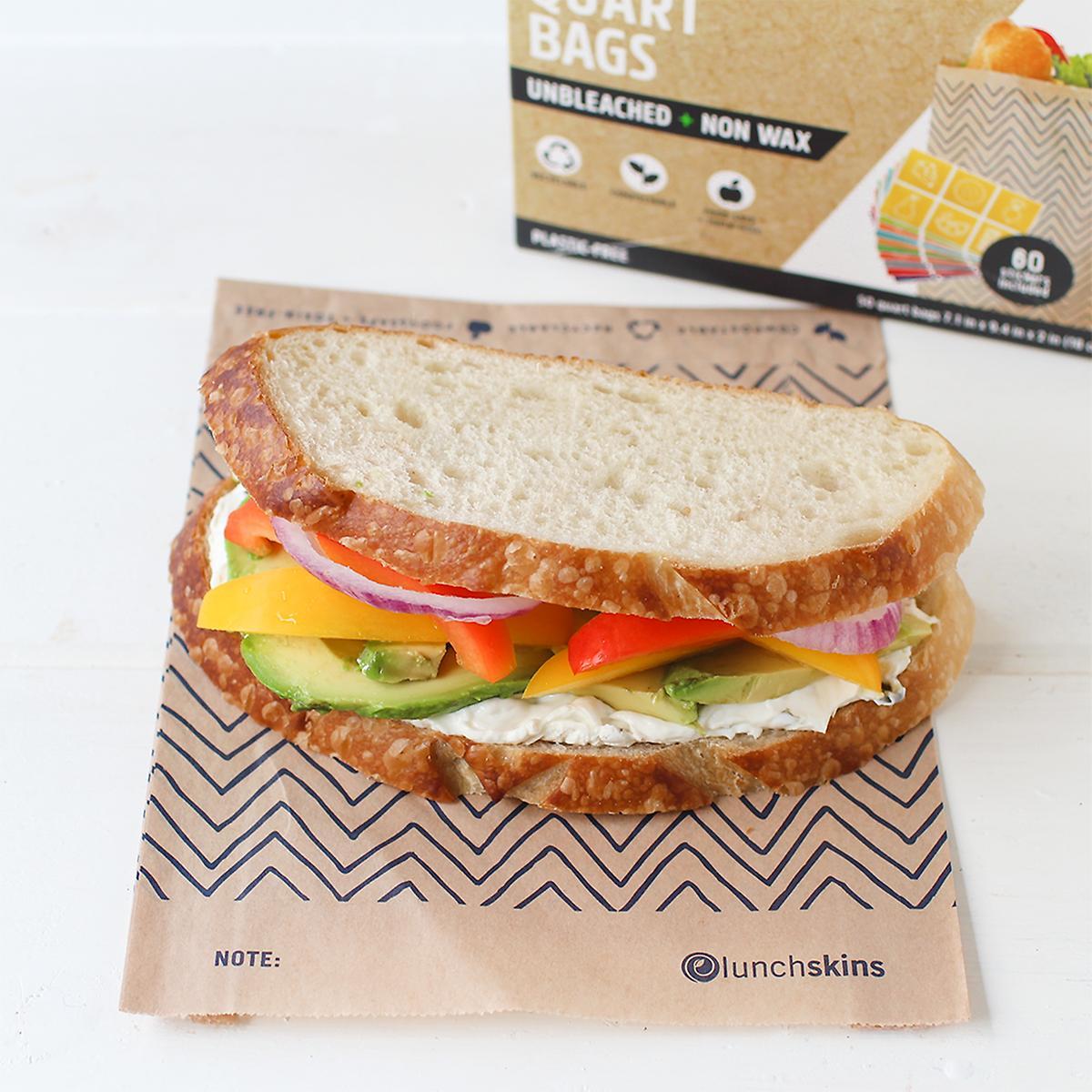 Lunchskins Kraft Chevron Unbleached Quart Paper Bags
