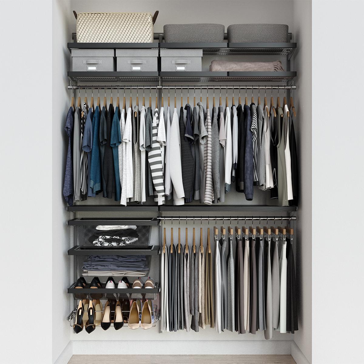 Elfa Décor 5' Grey & Platinum Reach-In Closet