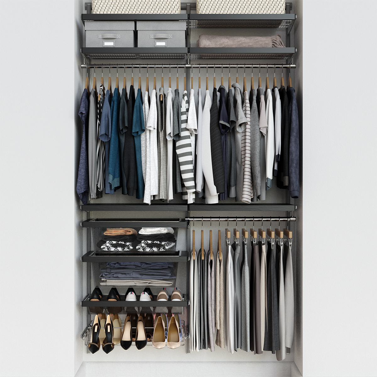 Elfa Décor 4' Grey & Platinum Reach-In Closet