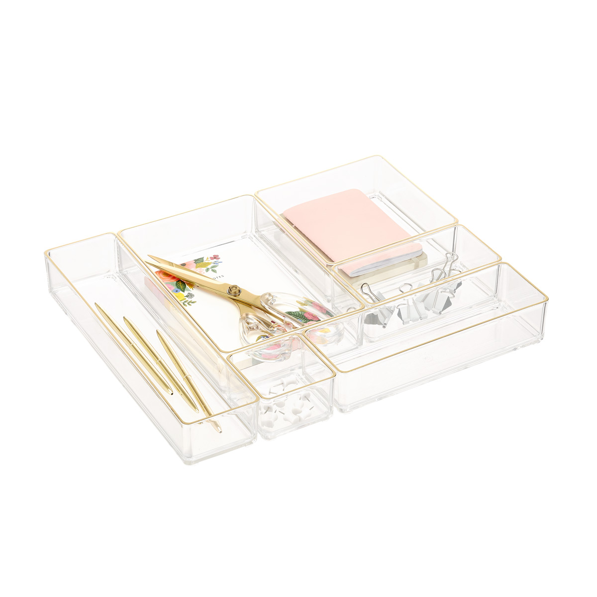 Clear Acrylic Stackable Drawer Organizers Gold Trim Set of 6