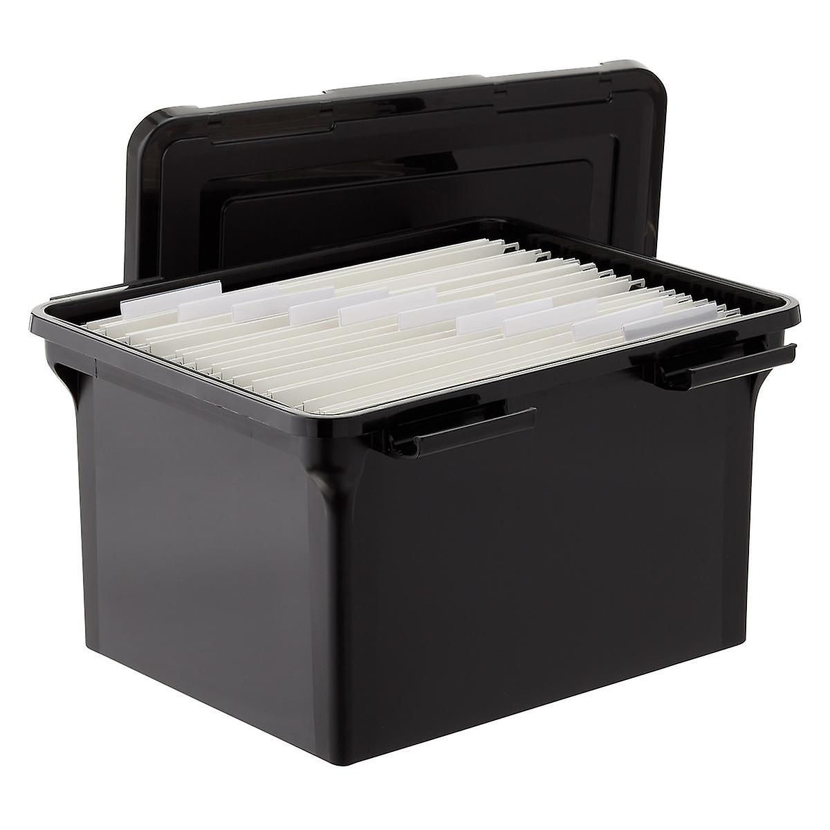 Iris Black Weathertight File Box and Legal-Size Folders Starter Kit