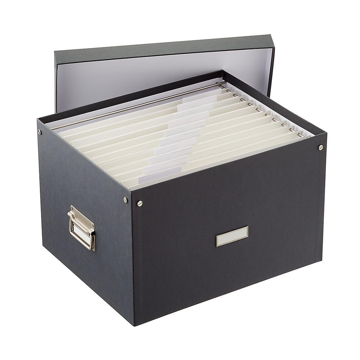 Bigso Graphite Stockholm File Box and Legal-Size Folders Starter Kit