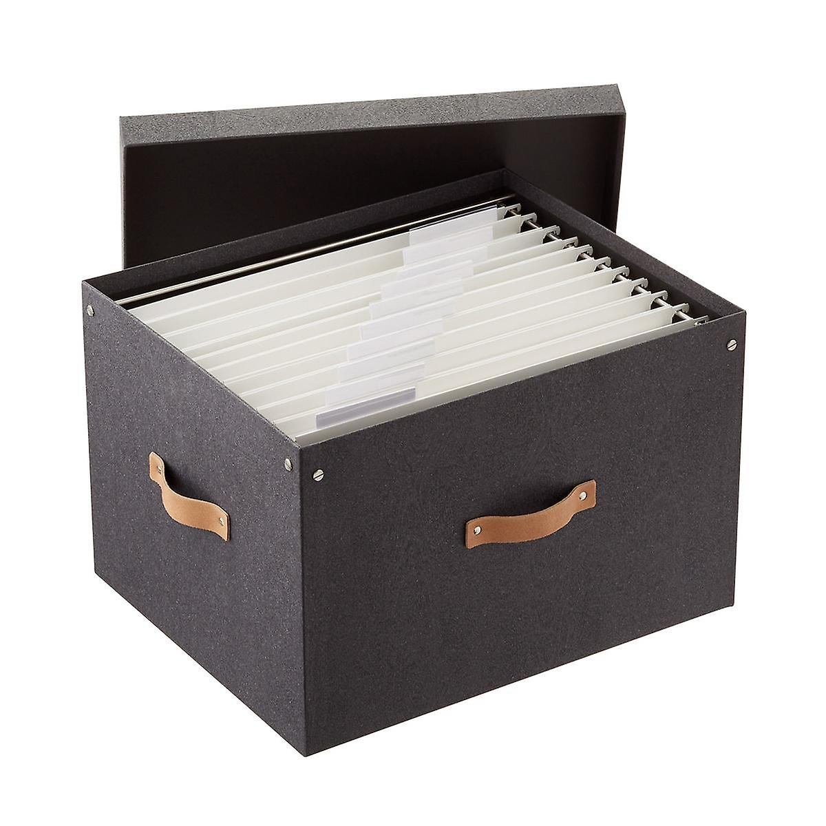 Bigso Black Woodgrain File Box and Legal-Size Folders Starter Kit