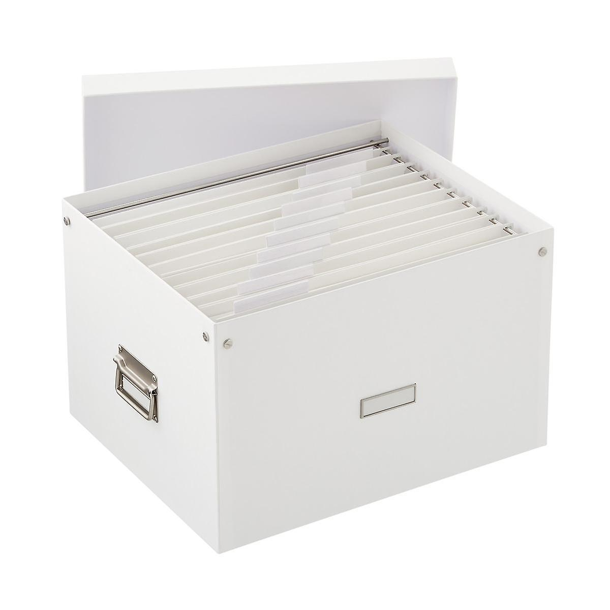 Bigso White Stockholm File Box and Legal-Size Folders Starter Kit