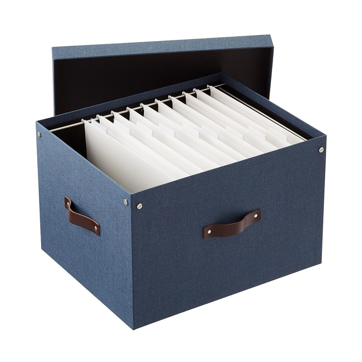 Bigso Navy Marten File Box and Letter-Size Folders Starter Kit