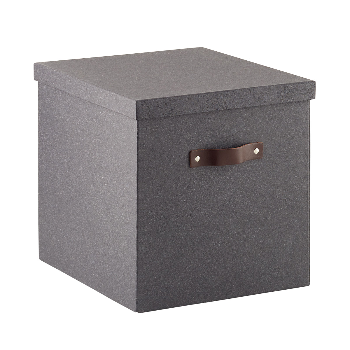 Bigso Black Woodgrain Storage Cube with Leather Handles